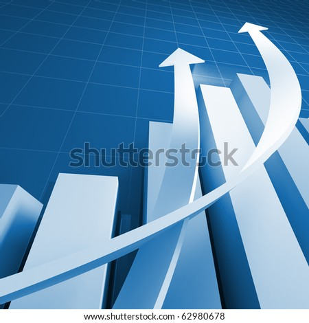 business chart graph background with growing arrows - stock photo
