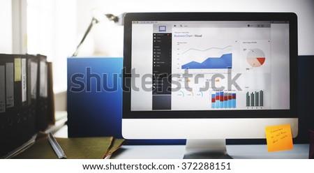 Business Chart Graph Growth Success Target Data Concept - stock photo