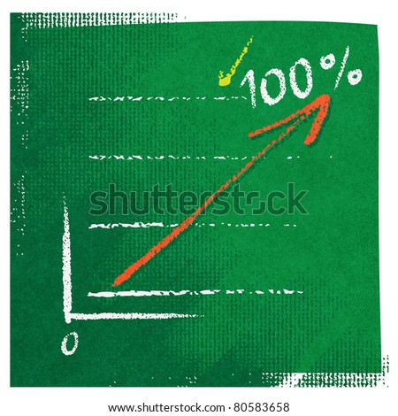 Business chart icon, red arrow, stylized, freehand style (raster version) - stock photo