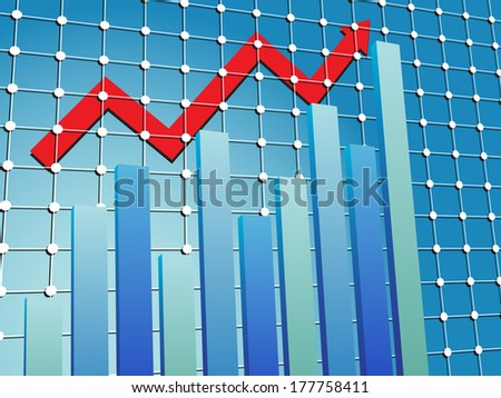 Business chart in blue with red arrow - stock photo