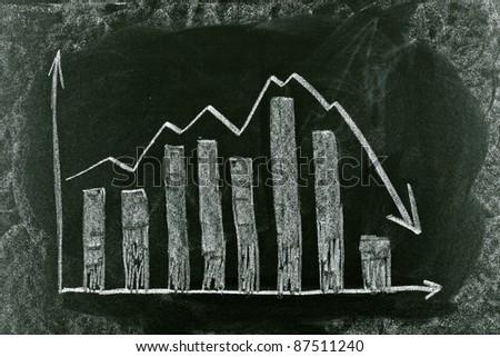 Business chart on blackboard showing crisis chart - stock photo