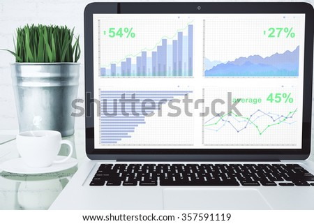 Business chart on laptop desktop with cup of coffee and green grass on glassy table - stock photo