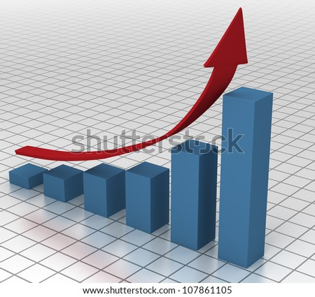 Business Chart on the Rise - stock photo