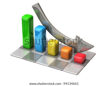 Business chart on white background - stock photo