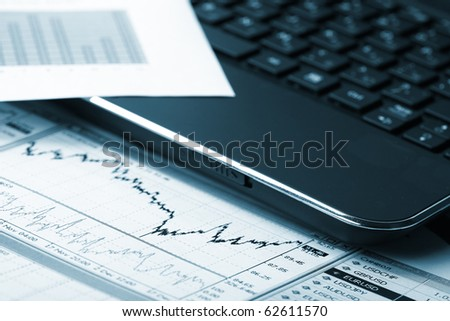 business chart, showing financial success at the stock market - stock photo