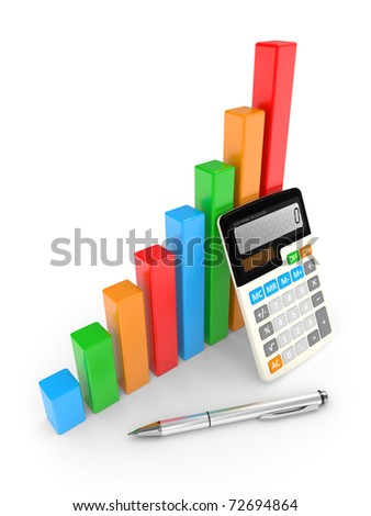 business chart showing financial success. objects isolated on a white