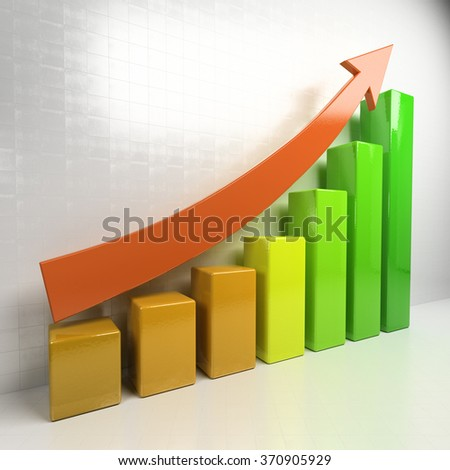 Business chart showing increase in sales. Close up of finance business graph. 3d render illustration - stock photo