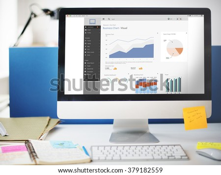 Business Chart Visual Graphics Report Concept - stock photo
