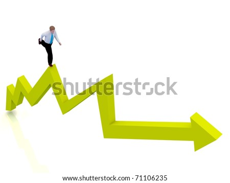 Business chart with a businessman - stock photo