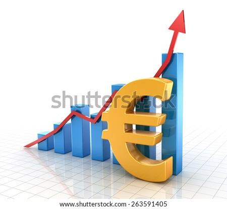 Business chart with euro symbol and finance concept. 3d render and computer generated image. - stock photo