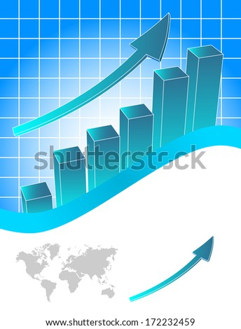 Business chart with map in background - stock photo