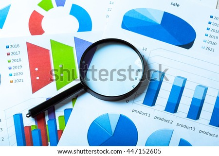 Business Charts blue - stock photo
