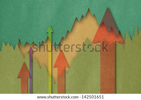 Business charts with growth arrow - stock photo