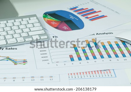 business charts with keyboard