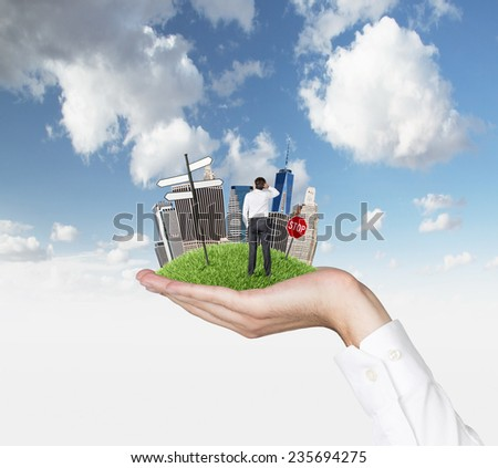 Business city center and businessman on hand - stock photo