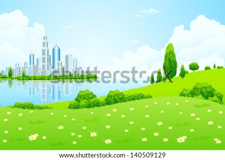 Business City on Island. Green Landscape. - stock photo