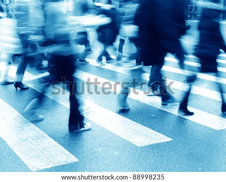 business city person on street blur motion - stock photo