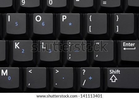 Business class notebook laptop standard keyboard close up - stock photo