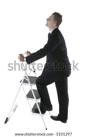 Business climbing a ladder looking up, isolated on white.