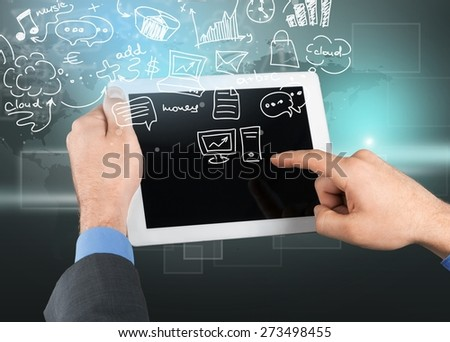 Business. Close-up image of male hands holding tablet pc - stock photo
