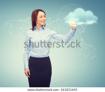 business, cloud computing and future technology concept - young businesswoman working with virtual screen - stock photo
