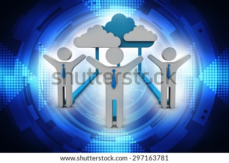 business cloud network - stock photo