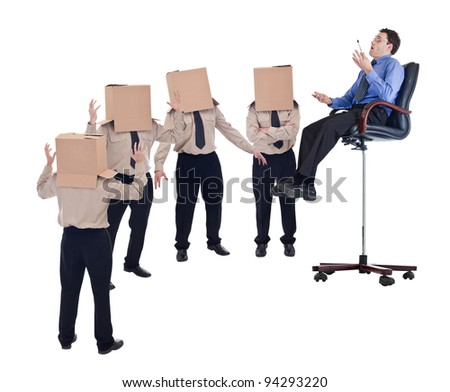 Business coach concept, trainer or leader with amazed audience - isolated - stock photo
