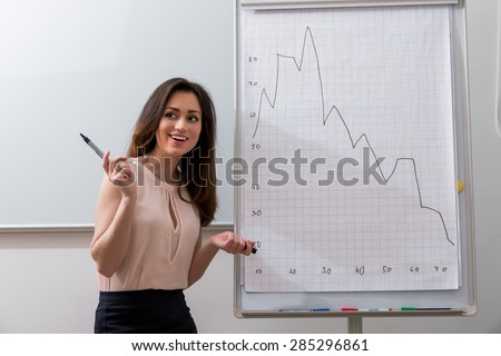Business coach teaches a lesson in college. - stock photo