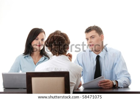 Business coaching concept. Young woman being interviewed for a job.  Isolated on white background - stock photo