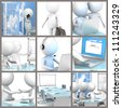 Business Collage. Collage of business people at the office. 3d little human characters. - stock photo