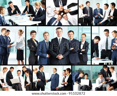 Business collage composed of nine photos of business people - stock photo