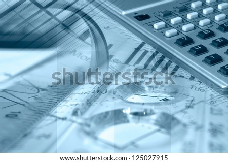 Business collage in blues with magnifier, ruler and graph. - stock photo