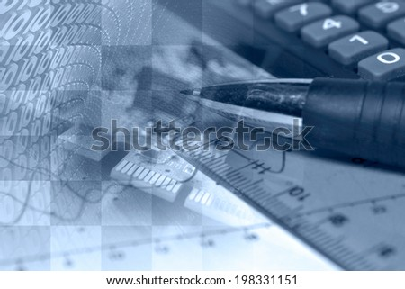 Business collage in blues with pen, ruler and graph. - stock photo