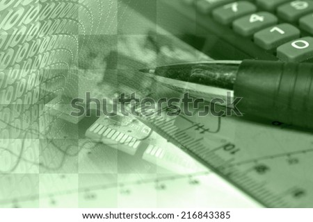 Business collage in greens with pen, ruler and graph. - stock photo