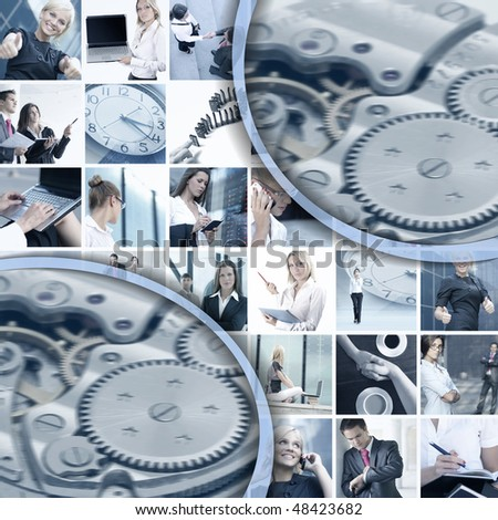 Business collage made of many business pictures and abstract elements - stock photo