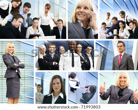 Business collage made of many different pictures about finances, time, money, real estate and relations - stock photo