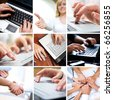 Business collage made of nine different business pictures - stock photo