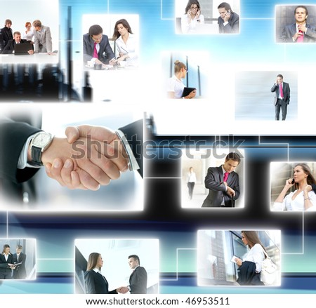 Business collage made of some business pictures over abstract background