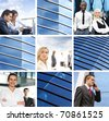 business collage made of some photos and abstract elements - stock photo