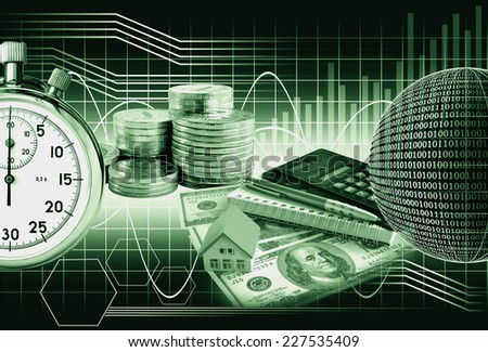 Business collage money and stopwatch on the background chart. The monochrome image in green tones - stock photo