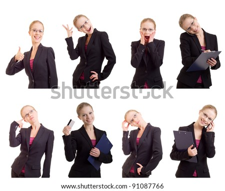 Business collage of a young and successful business woman. Isolated on white background. - stock photo