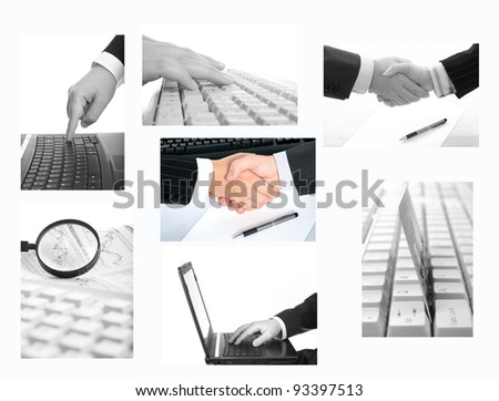 business collage on white background - stock photo
