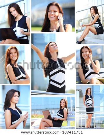 Business collage. Photo collection of successful beautiful young business woman  executive in an urban setting  - stock photo