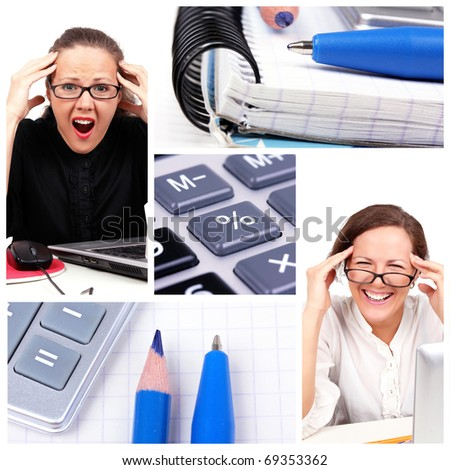Business collage with businesswoman - stock photo