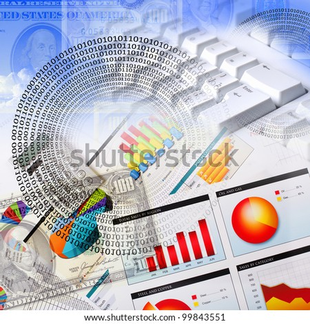 Business collage with financial and business charts and graphs - stock photo