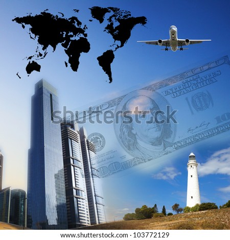 Business collage with financial charts and lighthouse on the background - stock photo