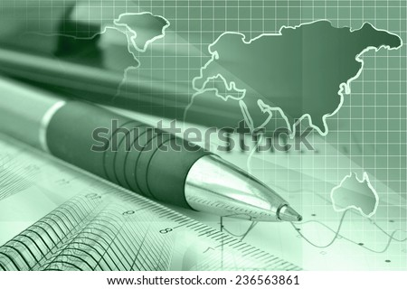 Business collage with graph, ruler, pen and stapler, green toned. - stock photo