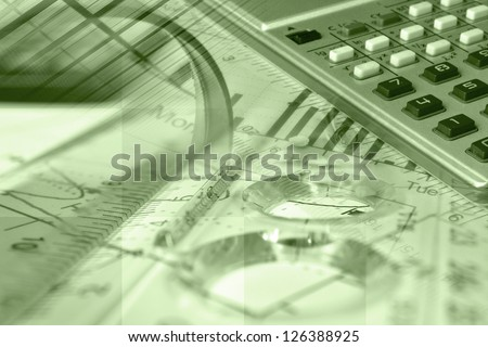 Business collage with magnifier, ruler and graph, in greens. - stock photo