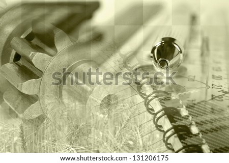 Business collage with pen, ruler and gears, sepia toned. - stock photo