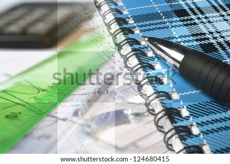 Business collage with pen, ruler and graph. - stock photo